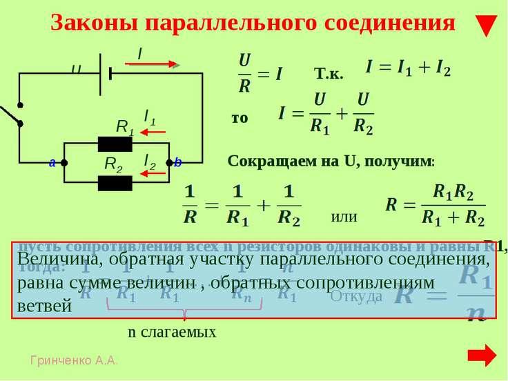 Законы параллельного соединения Т.к. то Сокращаем на U, получим: пусть сопрот...