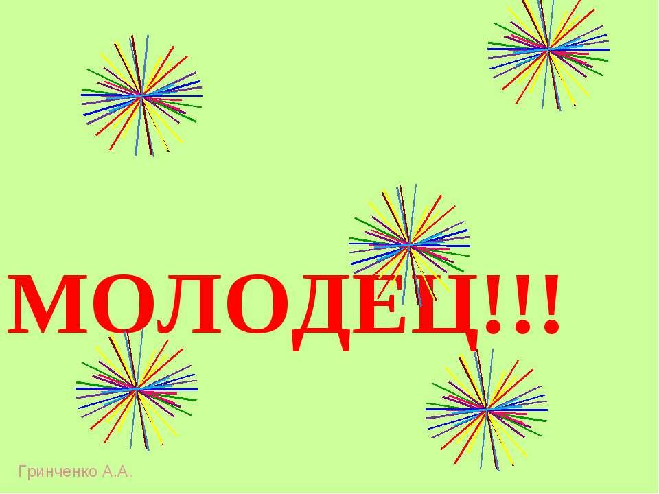 МОЛОДЕЦ!!! Гринченко А.А.