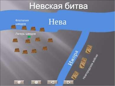 Нева Ижора Лагерь шведов Флотилия шведов Новгородское войско