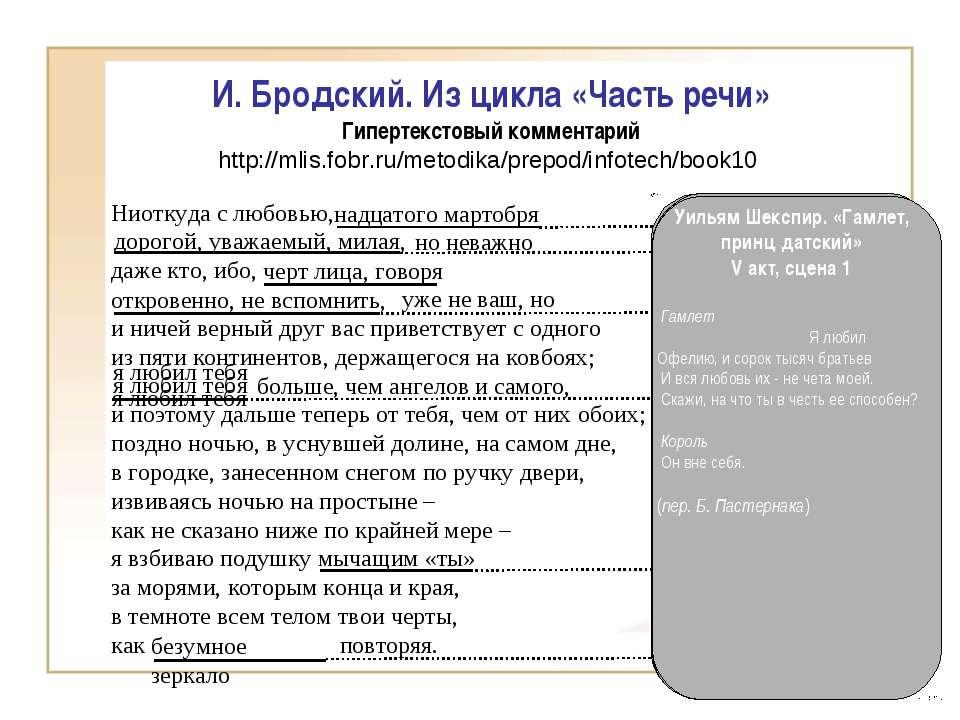 И. Бродский. Из цикла «Часть речи» Гипертекстовый комментарий http://mlis.fob...