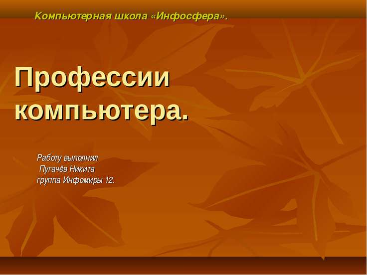 Профессии компьютера. Работу выполнил Пугачёв Никита группа Инфомиры 12. Комп...