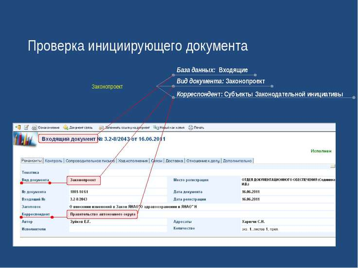 Проверка инициирующего документа База данных: Входящие Вид документа: Законоп...