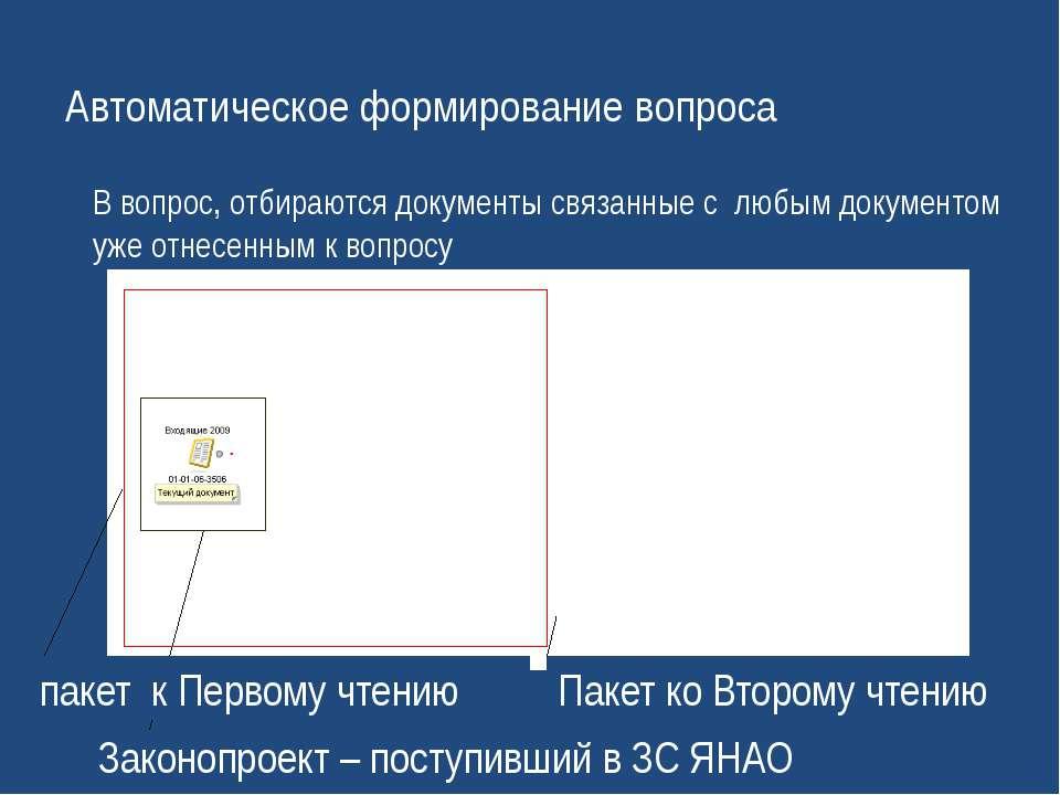 Автоматическое формирование вопроса Законопроект – поступивший в ЗС ЯНАО паке...