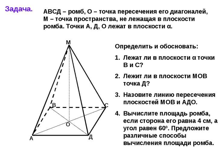 Задача. А В С Д М О АВСД – ромб, О – точка пересечения его диагоналей, М – то...