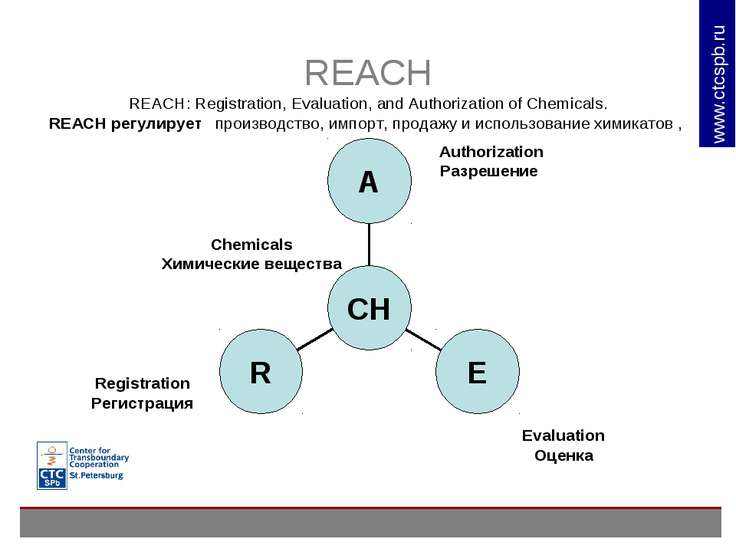 REACH REACH: Registration, Evaluation, and Authorization of Chemicals. REACH ...