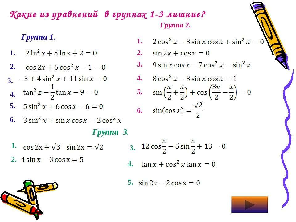 Какие из уравнений в группах 1-3 лишние? Группа 1. Группа 2. 1. 2. 3. 4. 5. 6...