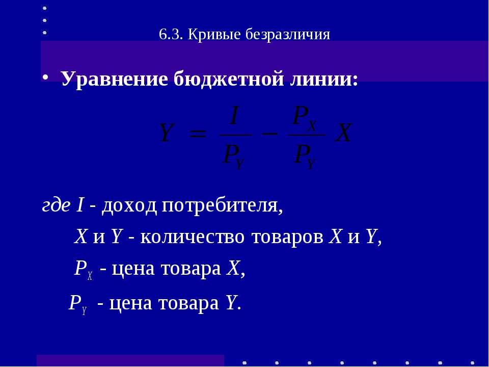 Уравнение бюджетной линии: где I - доход потребителя, Х и Y - количество това...