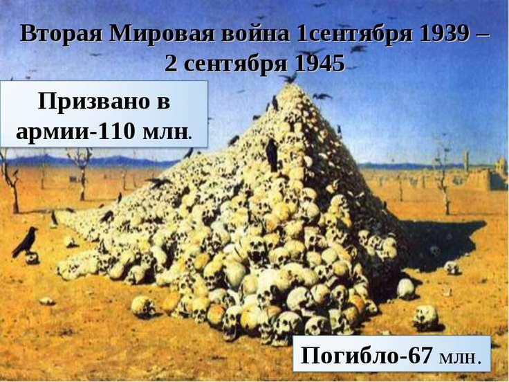 Вторая Мировая война 1сентября 1939 – 2 сентября 1945