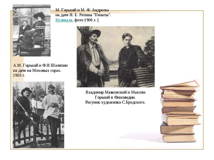 А.М. Горький и Ф.И.Шаляпин на даче на Моховых горах. 1903 г. Владимир Маяковс...