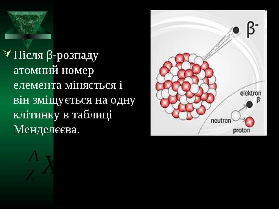 Після β-розпаду атомний номер елемента міняється і він зміщується на одну клі...
