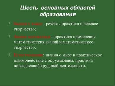 Шесть основных областей образования Знания о языке - речевая практика и рече...