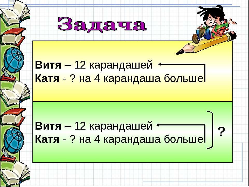 Витя – 12 карандашей Катя - ? на 4 карандаша больше Витя – 12 карандашей Катя...