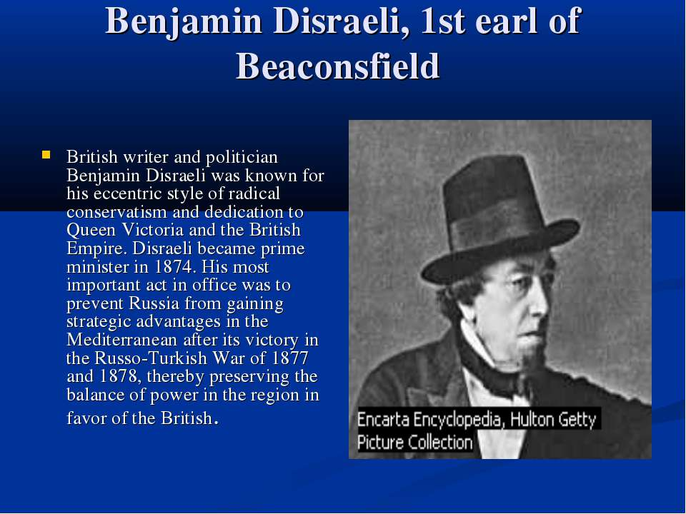 Benjamin Disraeli, 1st earl of Beaconsfield British writer and politician Ben...