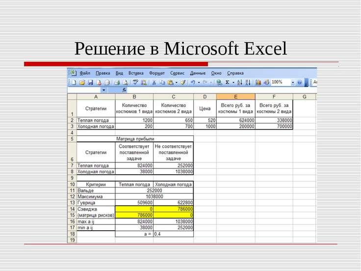 Решение в Microsoft Excel