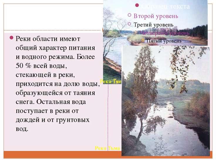 Реки области имеют общий характер питания и водного режима. Более 50 % всей в...
