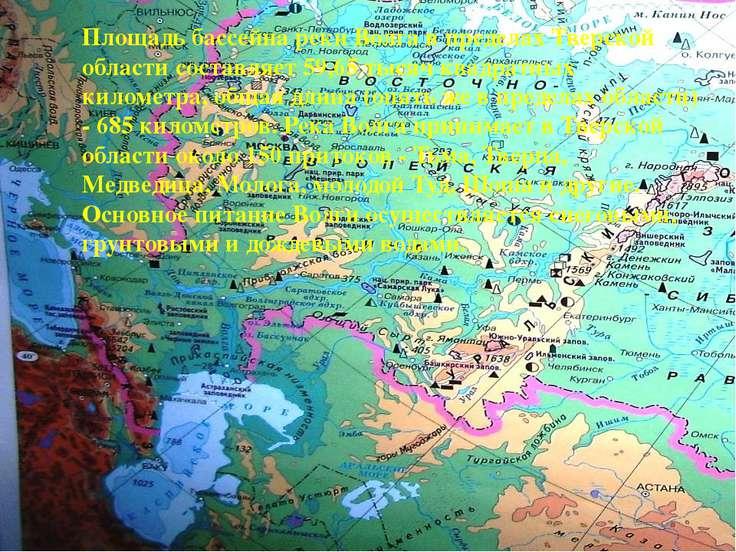 Площадь бассейна реки Волга в пределах Тверской области составляет 59,65 тыся...