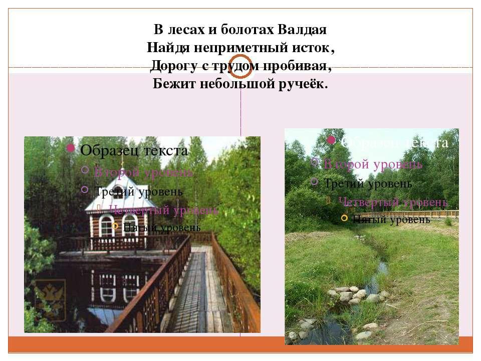 В лесах и болотах Валдая Найдя неприметный исток, Дорогу с трудом пробивая, Б...