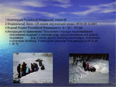 1.Конституция Российской Федерации, статья 58 2.Федеральный Закон «Об охране ...