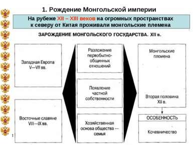 * 1. Рождение Монгольской империи На рубеже XII – XIII веков на огромных прос...