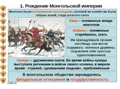 * 1. Рождение Монгольской империи Монголы были кочевниками-скотоводами, основ...