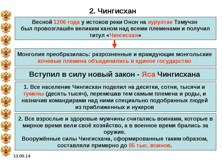 * 2. Чингисхан Весной 1206 года у истоков реки Онон на курултае Тэмучэн был п...
