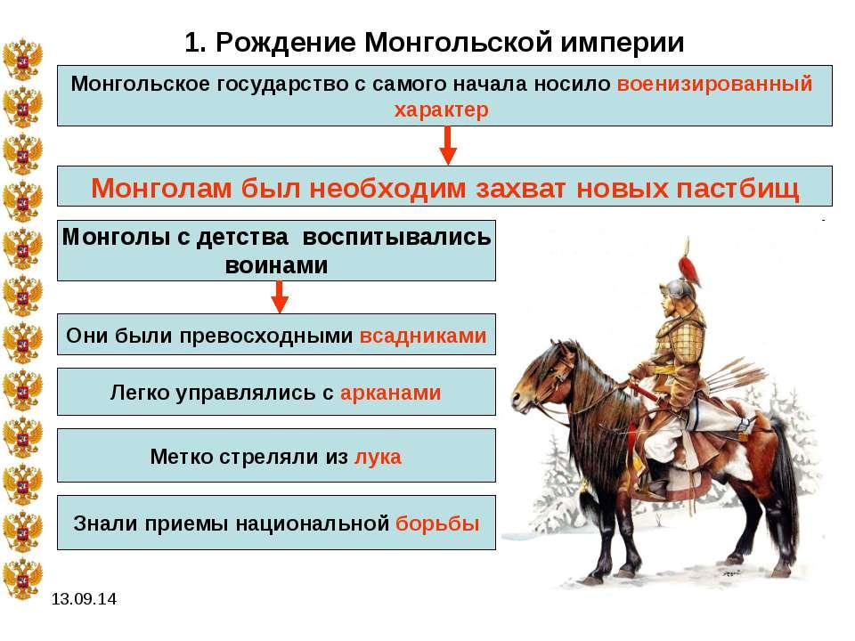 * 1. Рождение Монгольской империи Монгольское государство с самого начала нос...