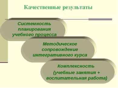 Качественные результаты Системность планирования учебного процесса Комплексно...