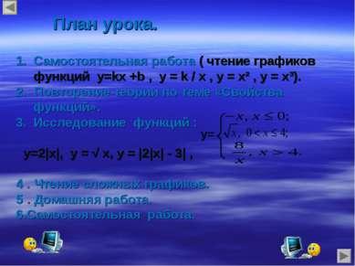 План урока. Самостоятельная работа ( чтение графиков функций у=kх +b , у = k ...