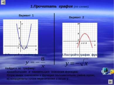 1.Прочитать график (по схеме). Вариант 1 Вариант 2 2.Постройте график функции...