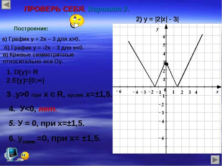 ПРОВЕРЬ СЕБЯ. Вариант 2. 2) y = |2|x| - 3| Построение: а) График y = 2x – 3 д...