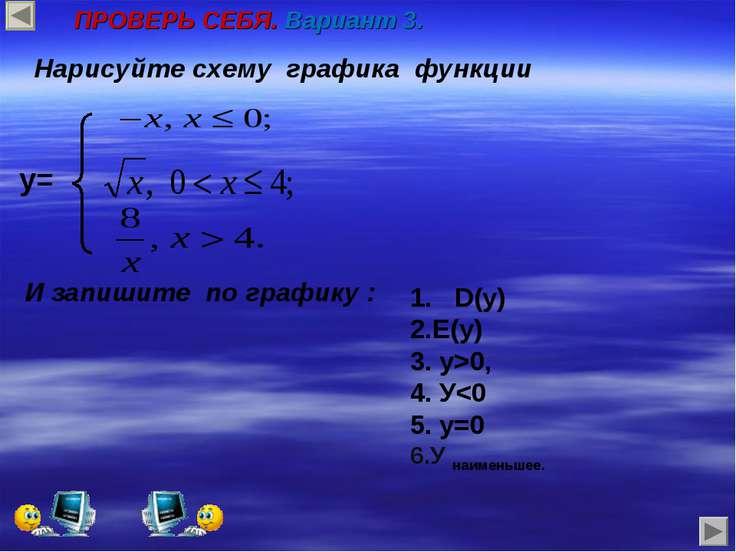 y= Нарисуйте схему графика функции И запишите по графику : 1. D(у) Е(у) у>0, У