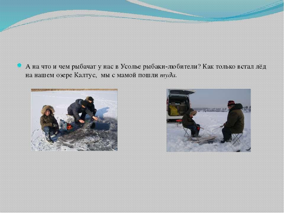 А на что и чем рыбачат у нас в Усолье рыбаки-любители? Как только встал лёд н...