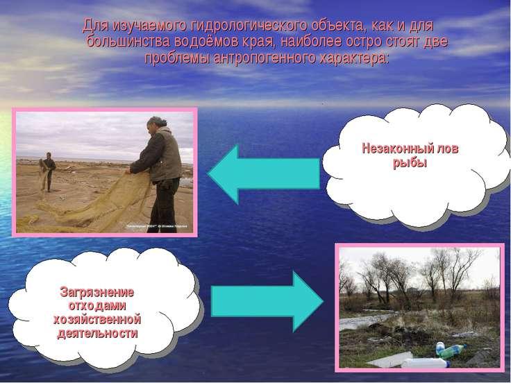 Незаконный лов рыбы Загрязнение отходами хозяйственной деятельности Для изуча...