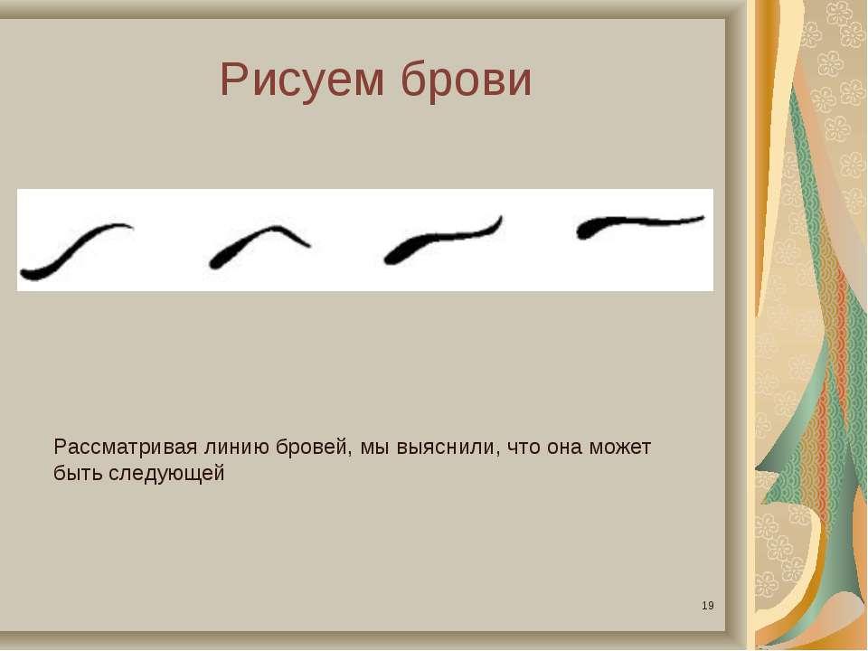 Рисуем брови * Рассматривая линию бровей, мы выяснили, что она может быть сле...