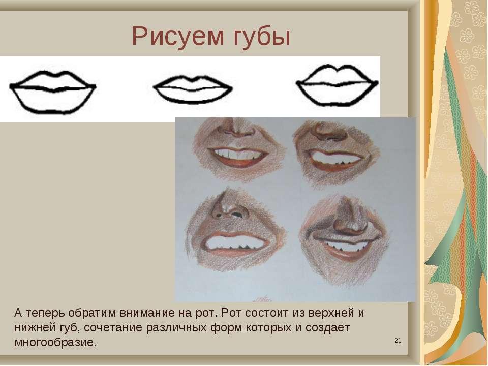 Рисуем губы * А теперь обратим внимание на рот. Рот состоит из верхней и нижн...