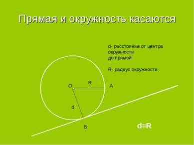 Прямая и окружность касаются d R d- расстояние от центра окружности до прямой...