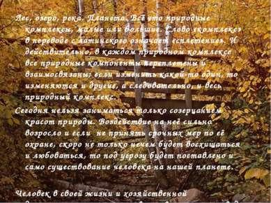Лес, озеро, река. Планета. Всё это природные комплексы, малые или большие. Сл...