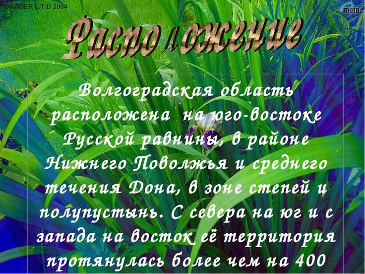 Волгоградская область расположена на юго-востоке Русской равнины, в районе Ни...