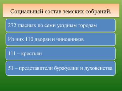 Социальный состав земских собраний.