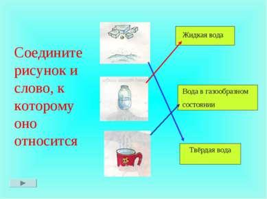 Соедините рисунок и слово, к которому оно относится Твёрдая вода Жидкая вода ...