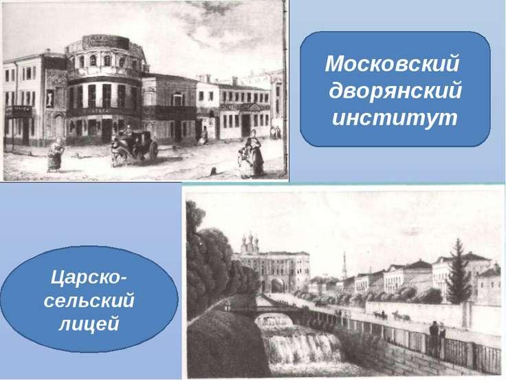 Московский дворянский институт Царско- сельский лицей