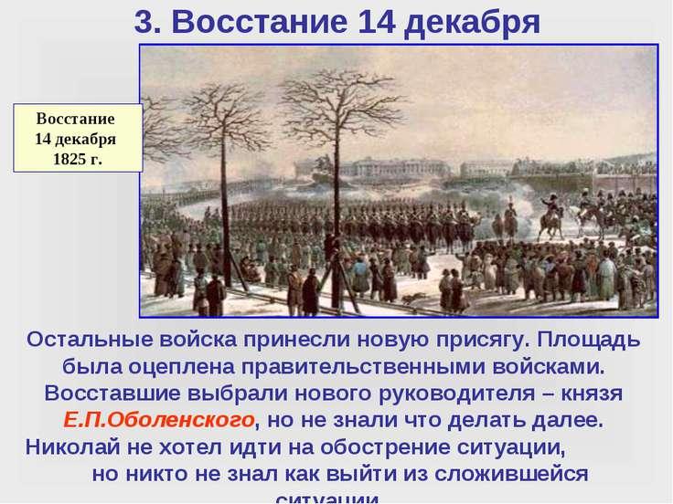 3. Восстание 14 декабря Остальные войска принесли новую присягу. Площадь была...