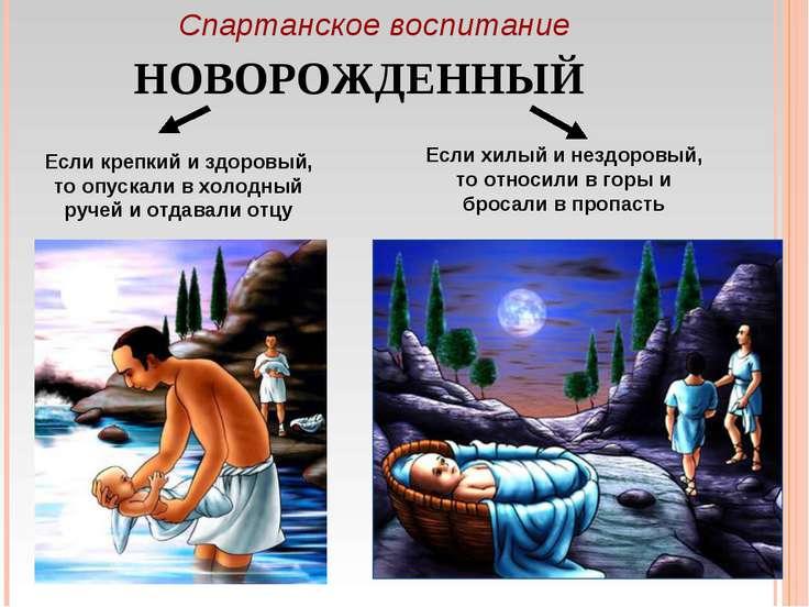 Спартанское воспитание НОВОРОЖДЕННЫЙ Если крепкий и здоровый, то опускали в х...