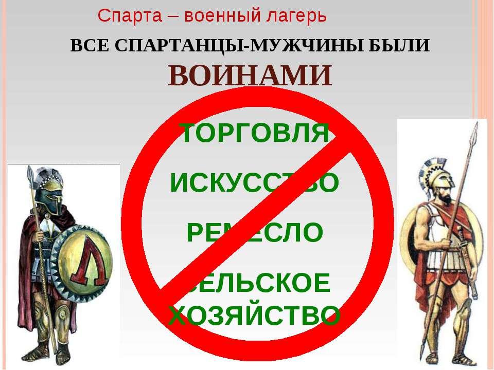 Спарта – военный лагерь ВСЕ СПАРТАНЦЫ-МУЖЧИНЫ БЫЛИ ВОИНАМИ ТОРГОВЛЯ ИСКУССТВО...