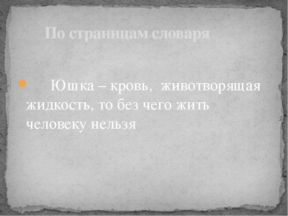 Юшка – кровь, животворящая жидкость, то без чего жить человеку нельзя По стра...