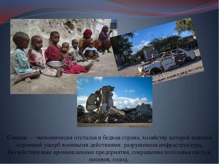 Сомали — экономически отсталая и бедная страна, хозяйству которой нанесен огр...