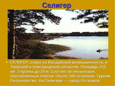 Селигер СЕЛИГЕР, озеро на Валдайской возвышенности, в Тверской и Новгородской...