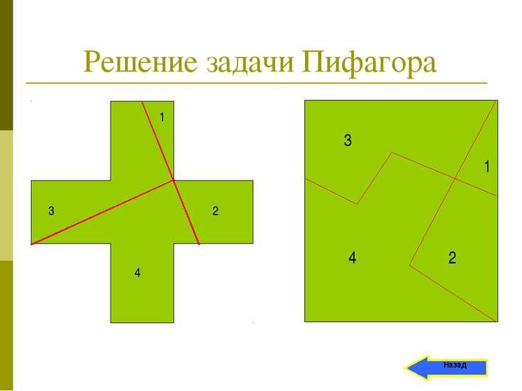 Решение задачи Пифагора 1 3 4 2 Назад 3 1 2 4