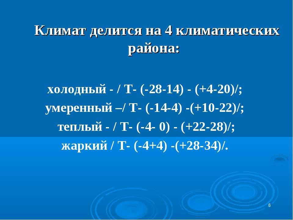 * Климат делится на 4 климатических района: холодный - / Т- (-28-14) - (+4-20...