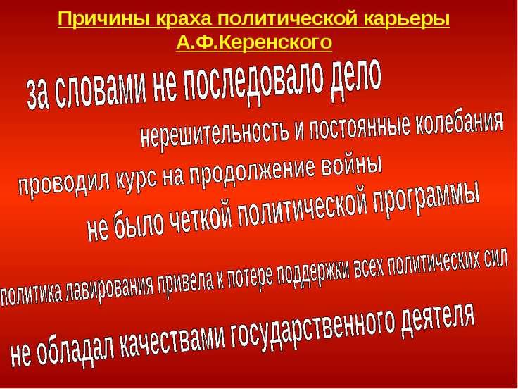 Причины краха политической карьеры А.Ф.Керенского